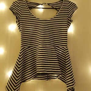 Cute Striped Open Back Top